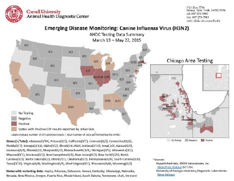 a map created by dr amy glaser of cornell s animal health diagnostic center depicts the states where dogs who have tested positive for h3n2 canine