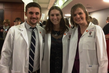 Kyle, Marielle, and Morgan; White Coat Ceremony December, 2014