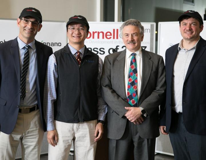 Sterifre Medical's Jonathan Green, left, Lionano's Yingchao Alex Yu, Lou Walcer, director of the Kevin M. McGovern Family Center for Venture Development in the Life Sciences, and Embark's Ryan Boyko enjoy a celebratory moment following the McGovern Center